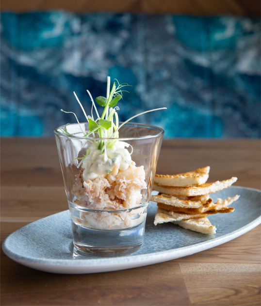 Verrine of Crab dish at The SeaChurch restaurant Ballycotton, Co. Cork.