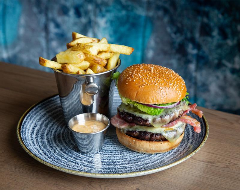 Irish Beef Burger with Chips SeaChurch Restaurant