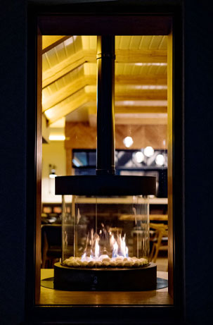 Cosy fire at sea Church restaurant, Cork