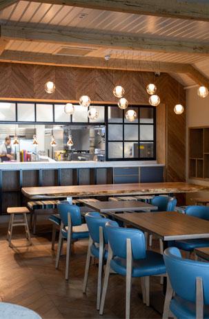 Interior of sea church restaurant